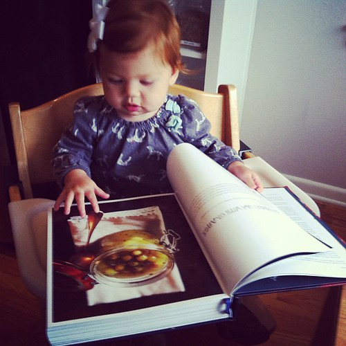 Lucy loves cookbooks