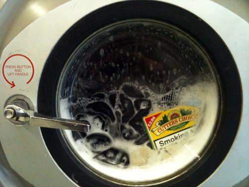 Washing machine drum with tobacco inside