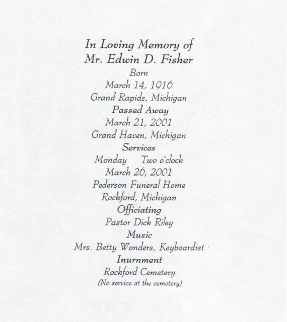 March 26 2001 Fisher Edwin Dayton Funeral Pamela