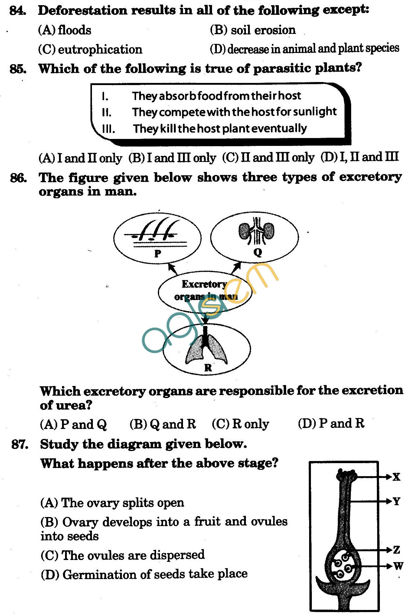 NSTSE 2010 Class VII Question Paper with Answers - Biology