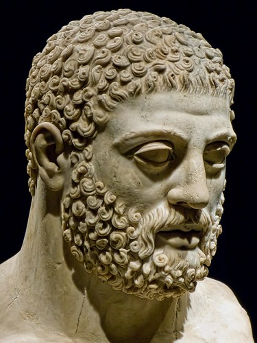 Head from statue of Herakles (Hercules) Roman 117-188 CE from villa of the emperor Hadrian at Tivoli, Italy by mharrsch
