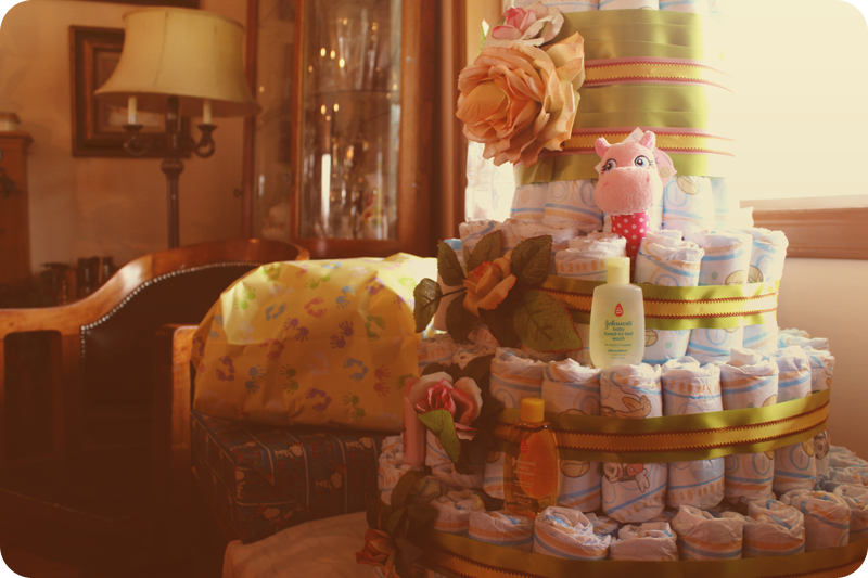 {baby shower} diaper cake layers