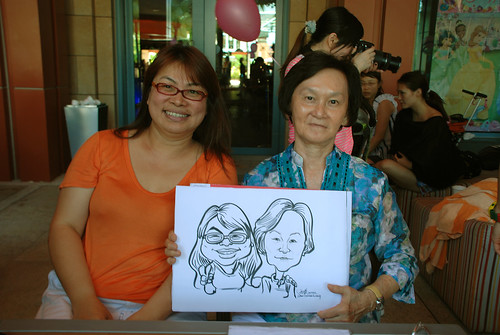 caricature live sketching for Mark Lee's daughter birthday party - 15