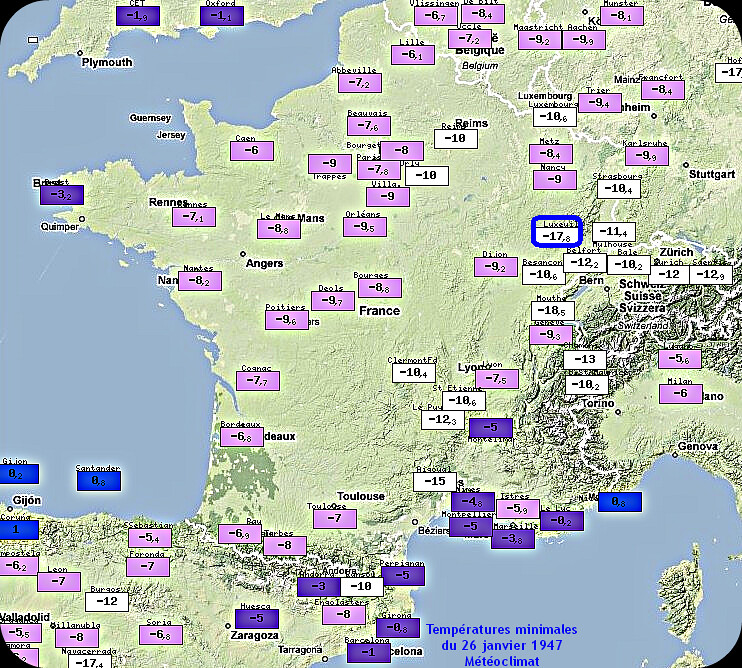 températures minimales du 26 janvier 1947 météopassion