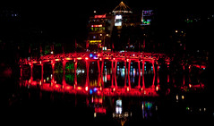 The Huc Bridge at Night at Hoan Kiem Lake - Hanoi, Vietnam