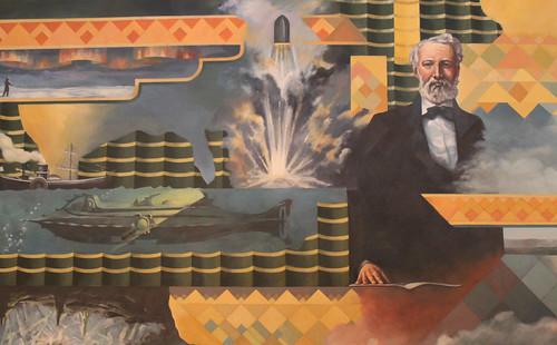 Jules Verne mural detail