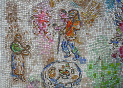 tapestry(0.0), textile(0.0), needlework(0.0), embroidery(0.0), art(1.0), pattern(1.0), mosaic(1.0),