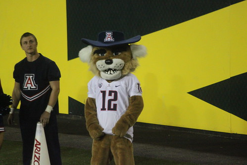 Arizona's Wilbur the Wildcat was at the game in Eugene against Oregon