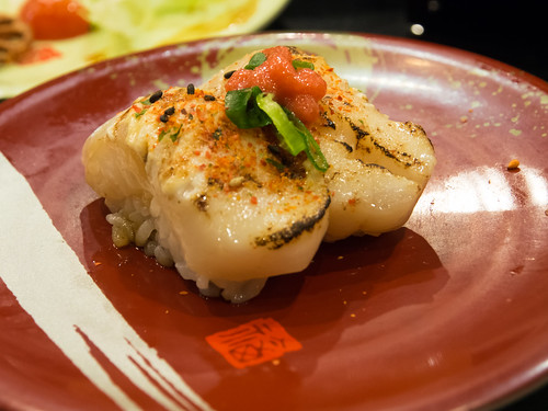 Flame-torched scallops with spicy roe at Sushi Hotaru