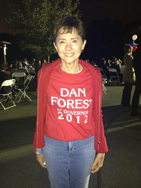 My mom supporting our campaign with her Run, Forest, Run shirt.