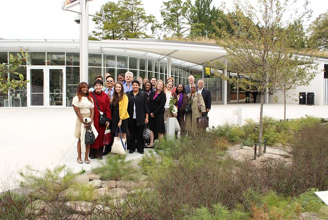Con Edison employees pose for a photo in front of BBG's Con Edison Rain Garden. Photo by Kaitlyn Falk Wong.