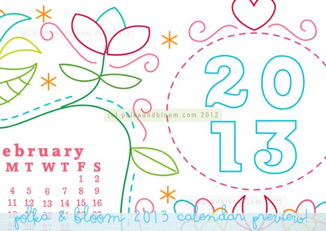 Polka & Bloom 2013 calendar sneak peek