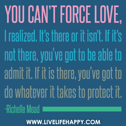 You can't force love, I realized. It's there or it isn't. If it's not there, you've got to be able to admit it. If it is there, you've got to do whatever it takes to protect it.