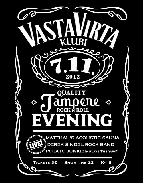 Derek Sindel Rock Band, Matthau's Acoustic Sauna & Potato Junkies plays Therapy? @ Vastavirta-klubi 7.11.2012