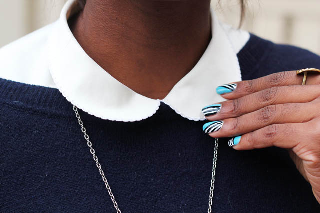 Stripe Wah nails peter pan collar