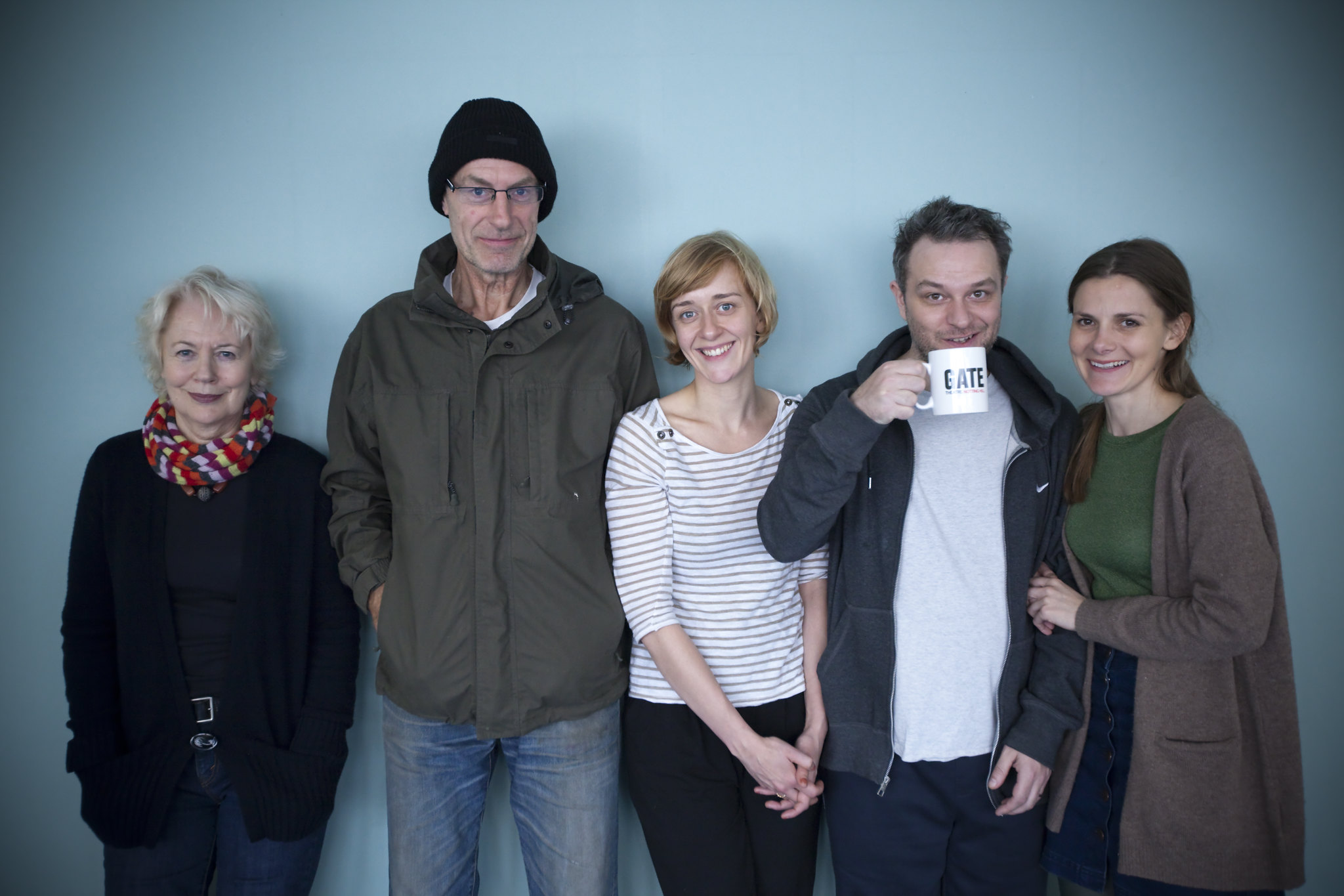 Dearbhla Molloy, Sam Cox, Lucy Ellinson, Jon Foster and Louise Brealey in rehearsals for THE TROJAN WOMEN (Photo © Iona Firouzabadi)