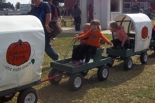 Little and Middle do the Mini-Wagon Ride