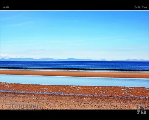 blue beach water scotland highlands horizon sutherland moray morayfirth findhorn tomraven aravenimage q42012