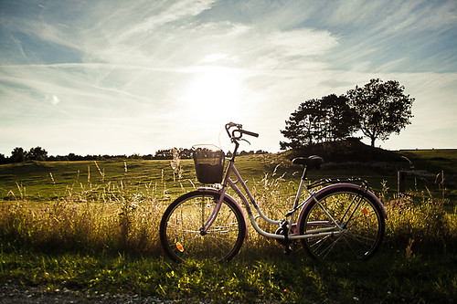pink blue light sky bike bicycle canon countryside 400d