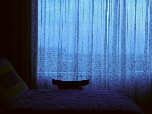 Sheer curtain, chaise lounge, high rise bedtime, twilight, Renaissance Hotel, Schauburge, Illinois, USA by Wonderlane