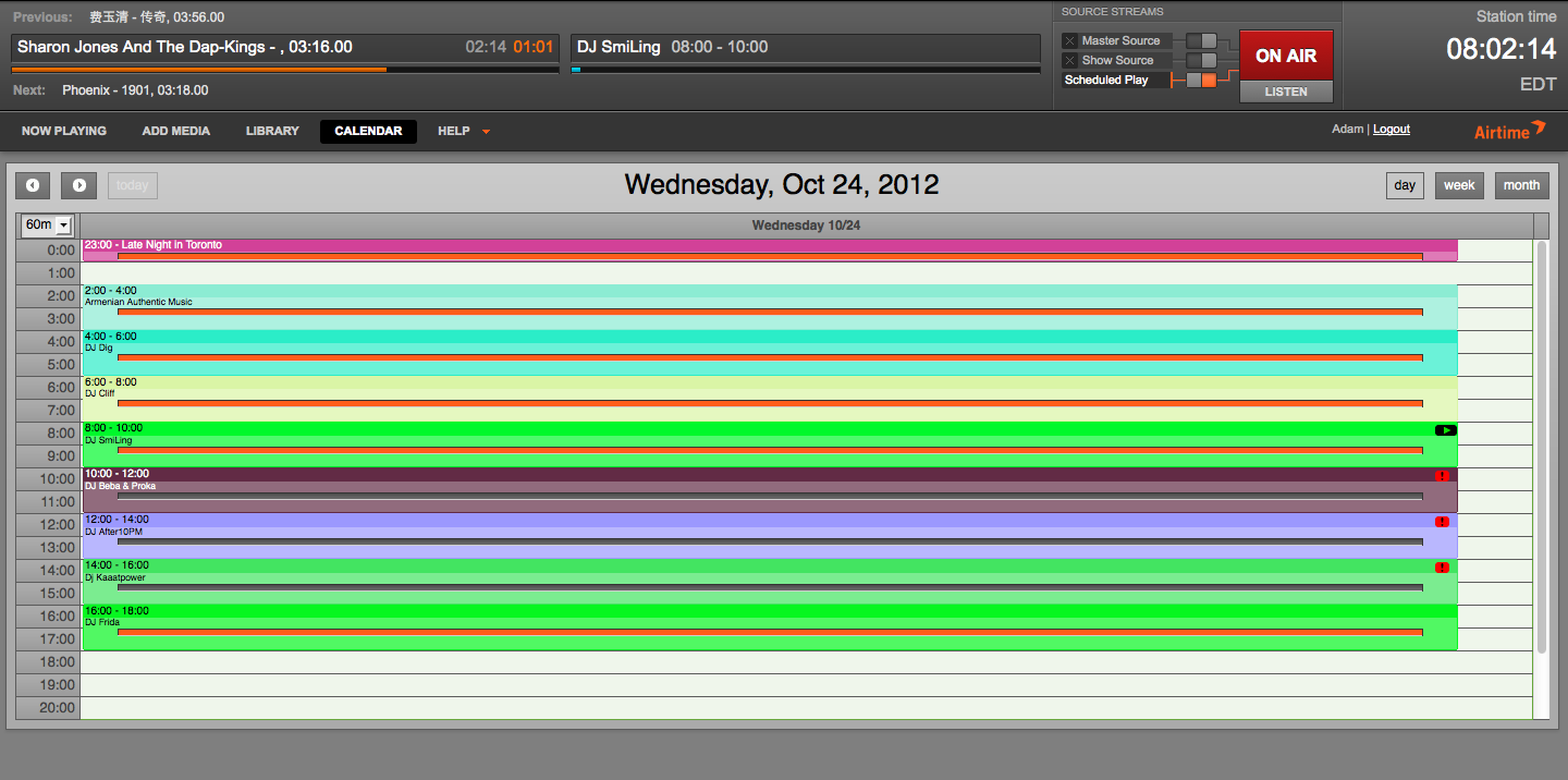 Colour-code your calendar and give DJs access to only their shows