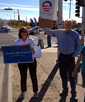 Al and Shanna hitting the streets to re-elect President Obama.