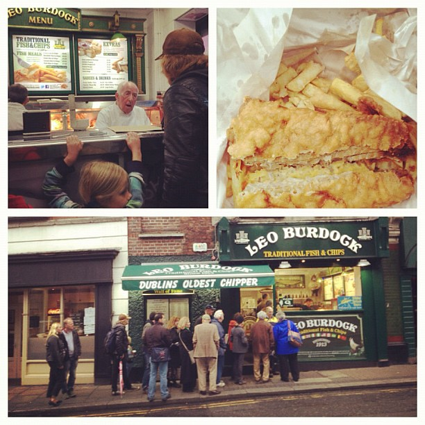 Exploring #Dublin w/a stop @leoburdock's for lunch. I actually ate fish & chips.