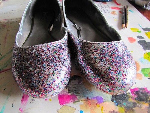 finished glitter shoes
