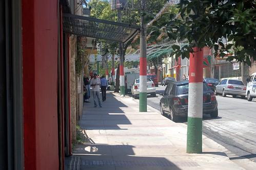 Die Bäume in Bela Vista sind mit rot, weiß, grün bemalt