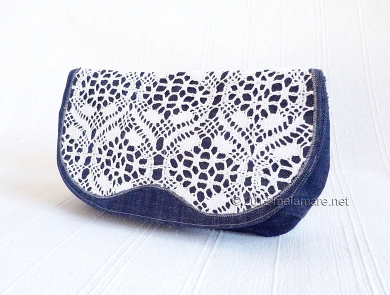 Jeans clutch bag with handmade lace front flap