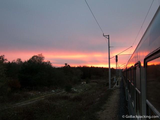 Sunset on the train from Budapest to Ljubljana, Slovenia