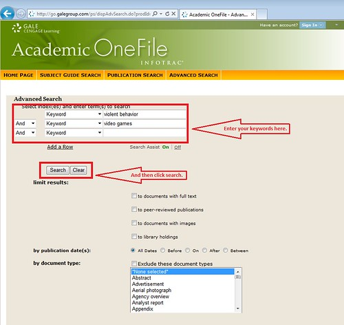 screenshot: Advanced search has multiple fields for multiple keywords, and Boolean operators as well.