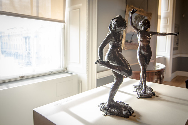 A pair of Degas' famous bronze ballet dancer statues on display at London's Courtauld Gallery.