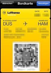 Lufthansa-Bordkarte (Passbook)