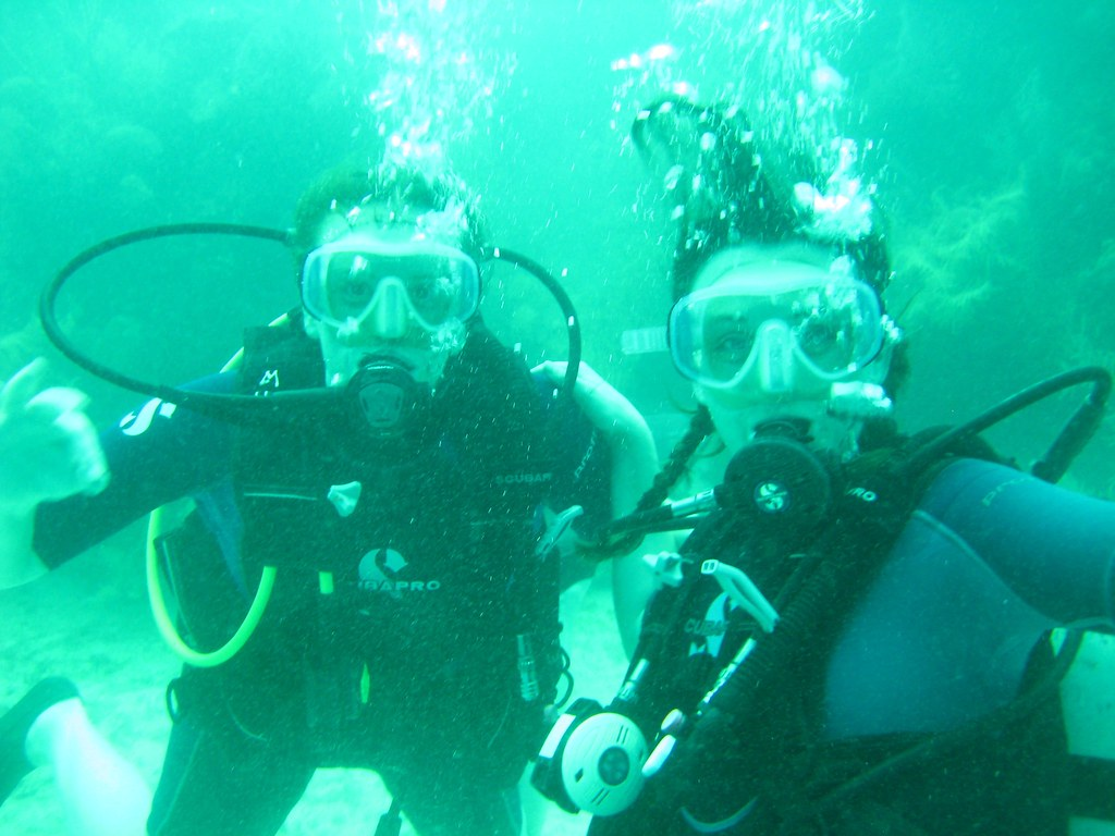 Scuba diving with fellow Tour Manager Amanda in Belize