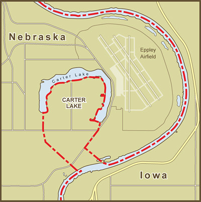 A Map Of The Border Between Nebraska And Iowa At Carter