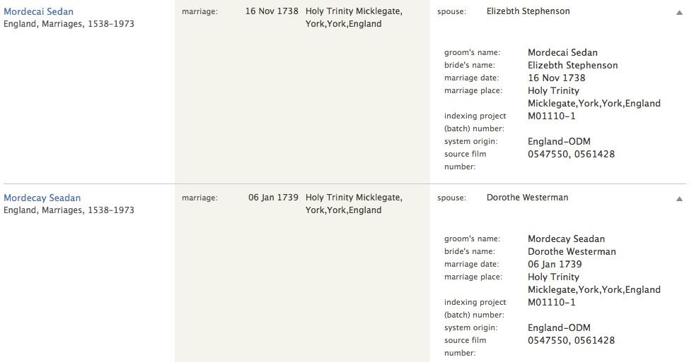 Mordecai Seddon marriages 1738 & 1739