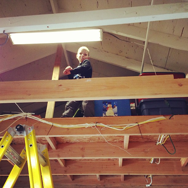 Husband is re-doing garage rafters. I found my son up there...dancing Gangnam Style.