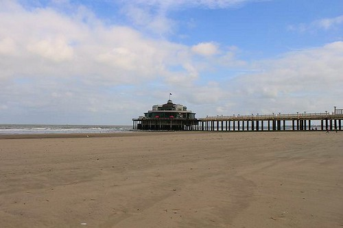 view on the pier in Blankenberge from the beach
