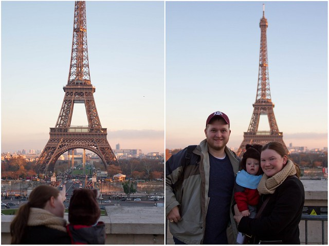 Family with Eiffel Tower Sunset