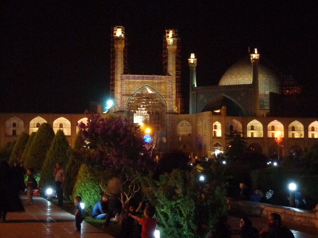 Praca Imam durante a noite em Isfahan