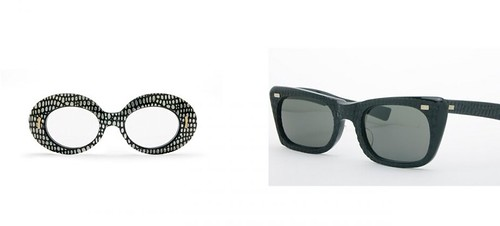 Silver-and-black acetate Sunmodes frames, Styl Rite Optics, United States, c. 1960s and True Colors sunglasses with alligator texture, by American Opticals, United States, c. 1950s