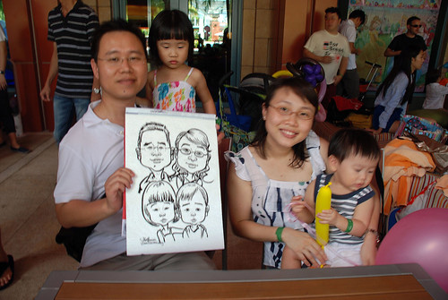caricature live sketching for Mark Lee's daughter birthday party - 7
