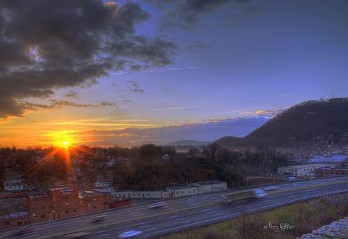 morning two sky sun mountain mill clouds sunrise hospital star virginia memorial roanoke terry rays rise hdr 581 aldhizer terryaldhizercom