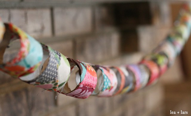 bunting - fabric, toilet paper rolls
