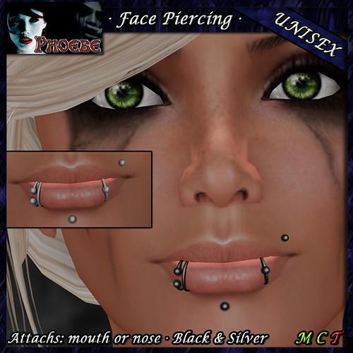 [$55L PROMO] *P* Unisex Facial Piercing ~Serie M2~ Black & Silver