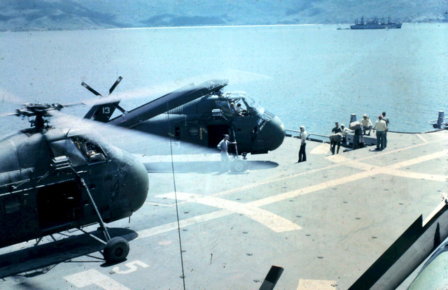 UH 34 COMING FROM OR GOING TO THE HANGAR DECK USS IWO JIMA RVN 1965