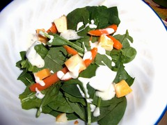 Spinach Salad With Ranch Dressing.
