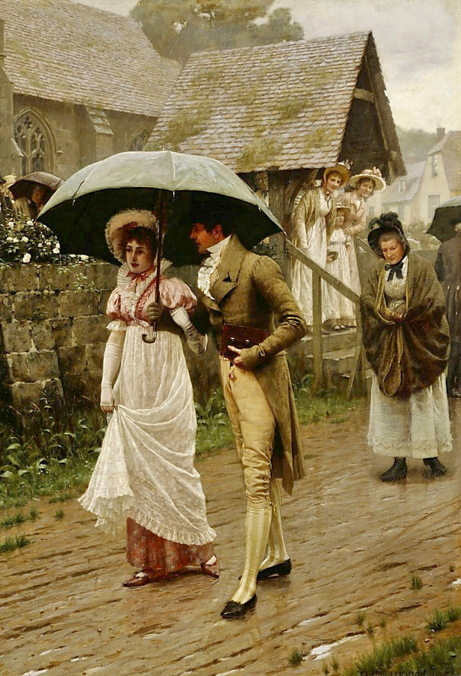 A Wet Sunday Morning by Edmund Blair Leighton