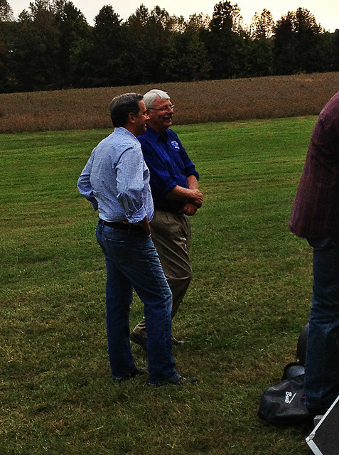 With Commissioner of Agriculture, Steve Troxler, on his family farm grounds.